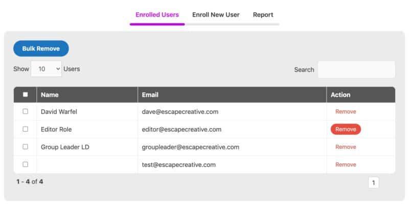 WisdmLabs Group Registration enrolled users