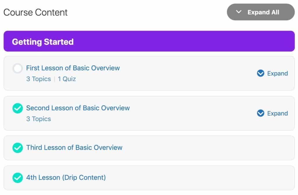 Example of a Course Content List in LearnDash